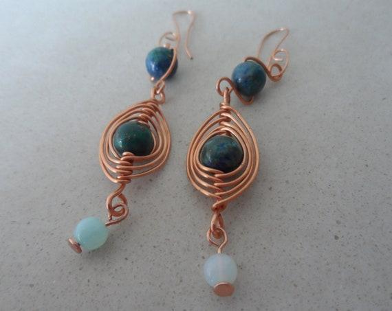 Lapis Lazuli, Opal and Copper Drop Earrings