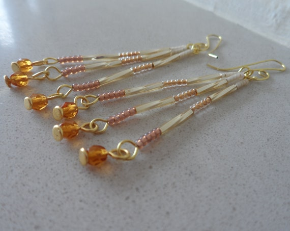 Gold Ombre Tassel Dangle Earrings