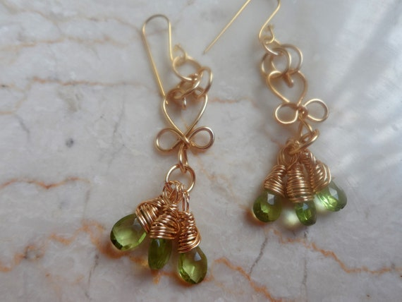 Gold Peridot Drop Earrings, Mother's Day, Gift for Her,