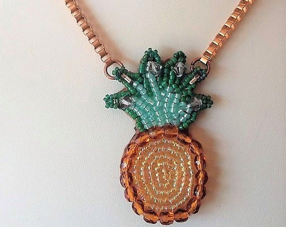 Pineapple Seed Beaded Necklace Suspended from A Gold Box Chain Gift for Her Birthday Christmas Fruit
