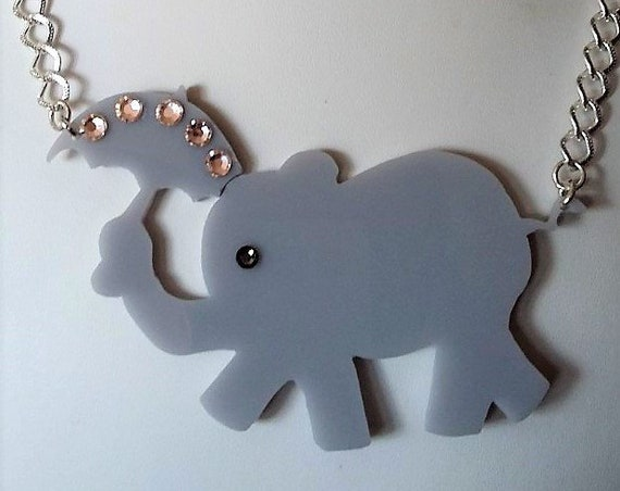 Grey Acrylic Elephant Holding a Umberella with Swarovski Crystals Necklace, Gift for Her, Christmas, Birthday