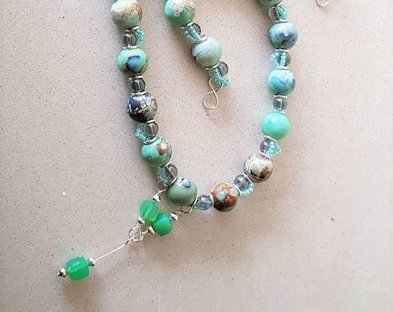 Marble Agate Necklace with Chrysoprase Drops Summer Jewellery Gift for Her Mothers Day