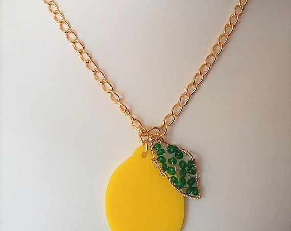 Hand Cut Acrylic Lemon with Wire Wrapped Leaf Featuring Green Quartz Suspended from a Gold Box Chain Gift for Her Birthday Gift Christmas