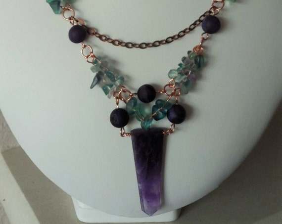 Fluorite, Purple Druzy and Amethyst Copper Necklace, Gift for Her, Mothers Day,  Healing Crystal, February Gemstone Jewellery Christmas