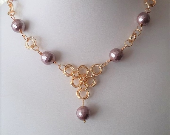 Vintage Rose Pearl and Gold Necklace Wedding Gift For Her