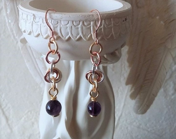 Chain Maille and Amethyst Earrings with Multi Coloured Metals