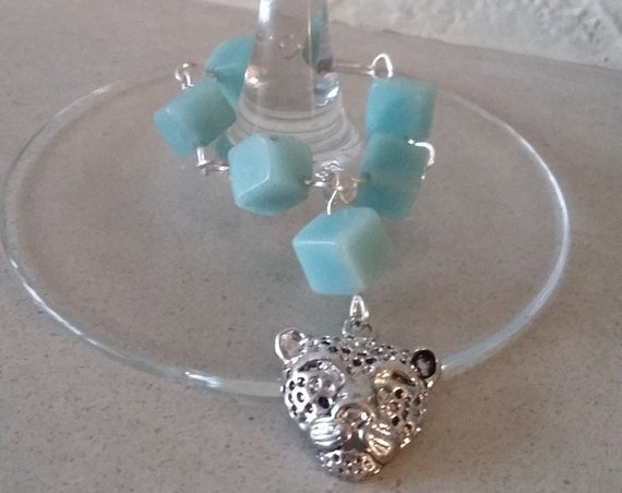 Wine Glass Charm with Amazonite Cubes Rosary Linked with Silver Wire and Featuring a Cat Charm, gift for her, wedding