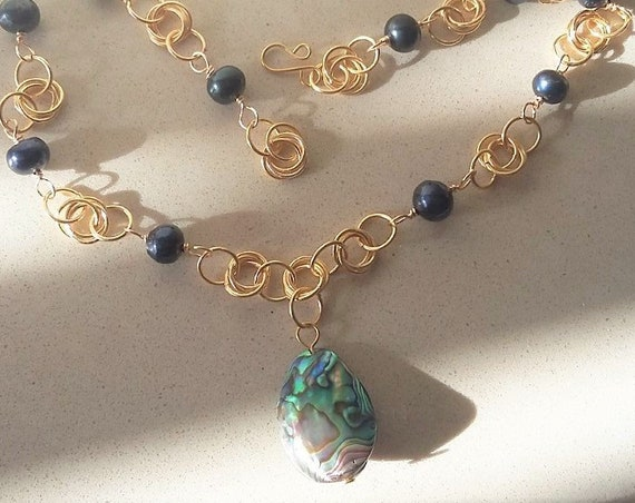 Fresh Water Black/Blue Pearls with Abalone Shell and Gold Chain Maille