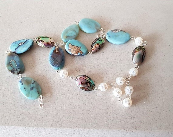 Aqua Blue Agate Twisted Ovals Rosary Linked with Abalone Shells and Mother of Pearl Mozaic Rounds Necklace Mothers day gift