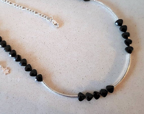 Black Spinel Hearts and 925 Silver Bars Necklace Gift For Her Spinel Necklace Wedding