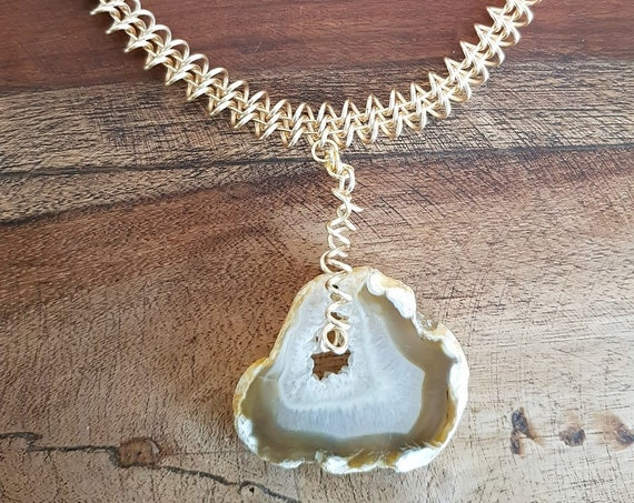 Tiger's Eye Necklace with Wire Detail and a Slice of Agate