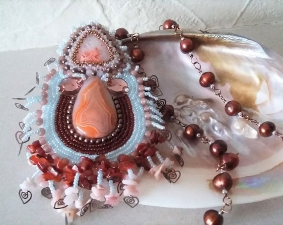 Agate Cabachons with Seed Beads and Tassels featuring Small Hearts Suspended from a Rosary Linked Pearl Necklace, Birthday, Christmas
