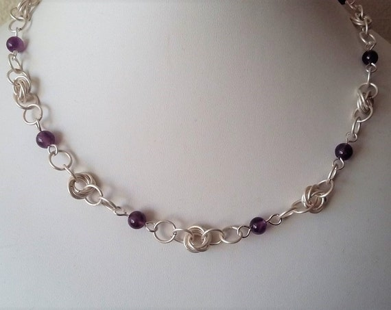 Silver Chain Maille Necklace with Amethyst Rounds