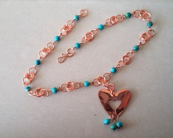 Turquoise Jasper with Copper Chain Maille and Copper Heart Pendent