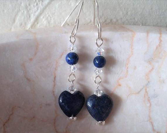 Lapiz Lazuli Heart Drop Earrings with Swarovski Crytals