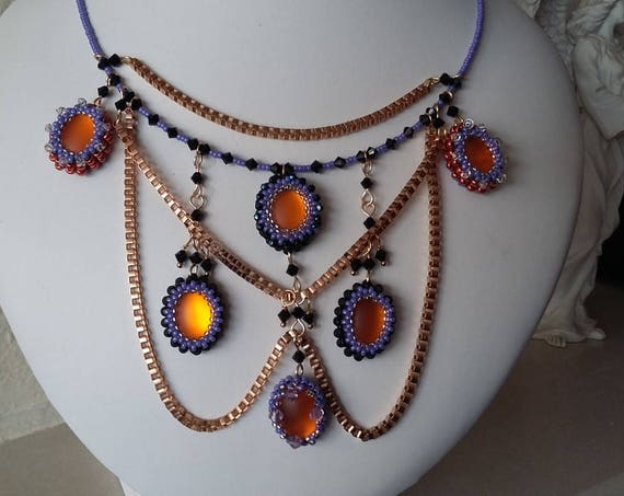 Necklace + Orange Luna Cabochons + Black Austrian Crystals, Purple seed beads + Gold Box Chain,Gift for Her, Mothers Day,  Healing Crystal