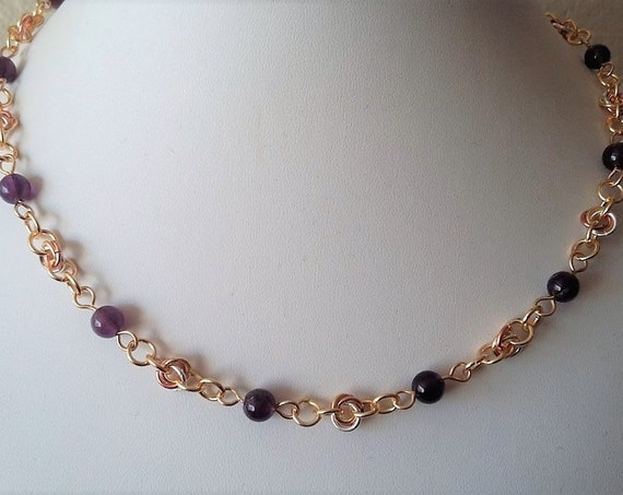 Chain Maille and Amethyst Necklace with Silver, Rose Gold and Yellow Gold