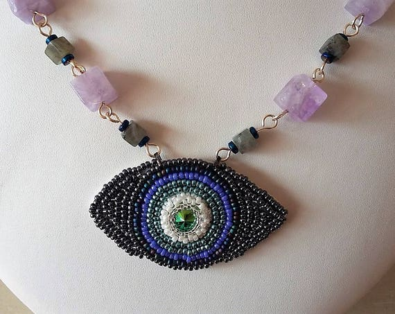Chakra Evil Eye +Sead Bead Detail and a Necklace of Square Amethyst and Labradorate Rosary Linked,Gift for Her, Mothers Day, Healing Crystal