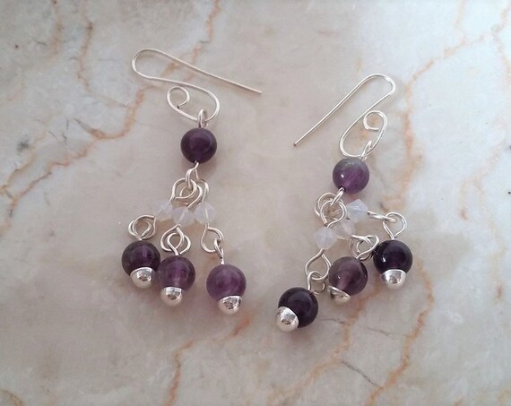 Silver Amethyst and Swarovski Crystal Dangle Earrings