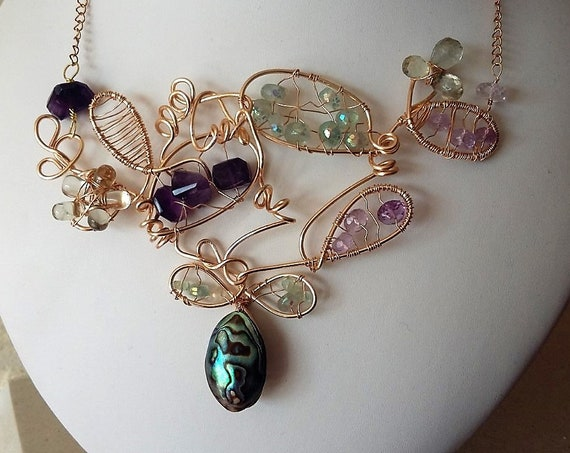Amethyst, Fluorite an Abalone Gold Statement Necklace. Gift for Her, Mothers Day,  Healing Crystal, Wedding, Bridesmaid,