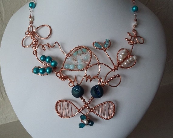 Cultured Pearl, Opal, Druzy and Apatite Necklace with Copper Wire, Gift for Her, Mothers Day,  Healing Crystal, Birthstone Jewellery