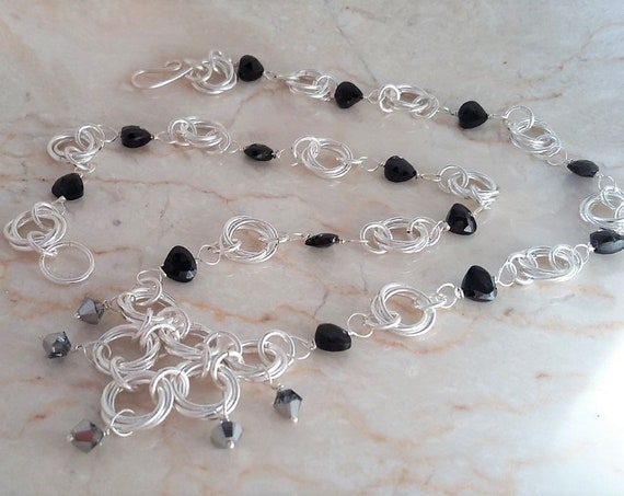 Silver Chain Maille Necklace with Black Spinel Hearts and Swarovski Crystals