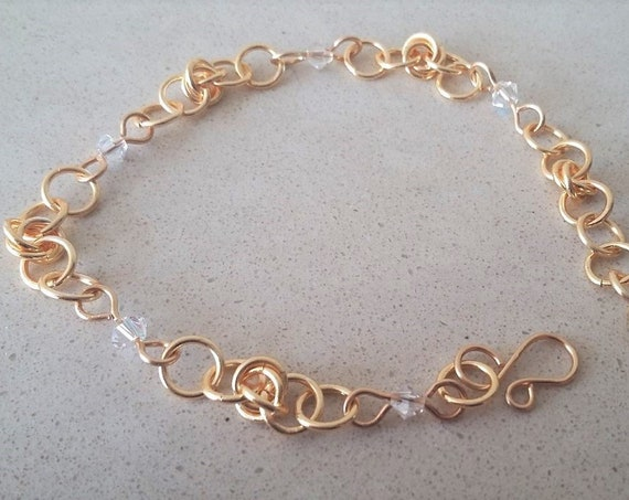Gold Chain Maille Adjustable Bracelet with Swarovski Crystals