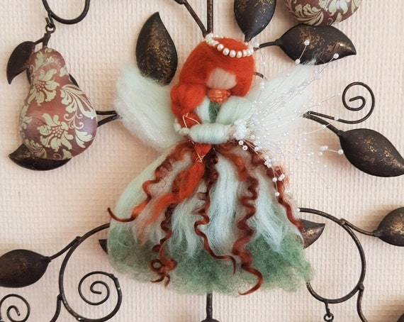 Magical Fairy with Pearl Tiara, Beautiful Copper Coloured Hair and Carrying a Bouquet  Christmas / Holidays