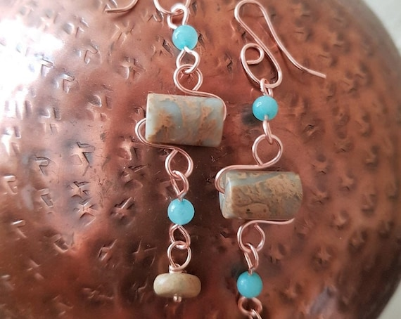 Jasper and Quartz Drop/Dangle Earrings