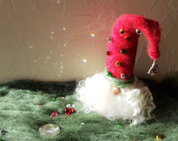 Needle Felted Gnome Wearing a Red Hat with Bells Attached and a Long Curly Beard  Christmas / Holidays