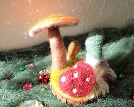 Needle Felted Gnome Sitting under Some Toadstools with a Bell on His Hat  Christmas / Holidays / Fairies / Magical