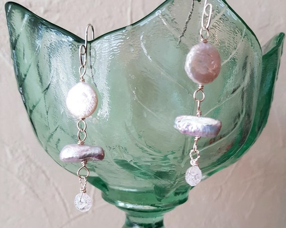 Freshwater Pearl Drop Earrings Featuring White Keshi / Silver Biwa and Quartz Drop