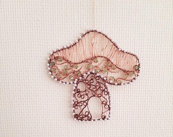 Toad Stool Fairy House Featuring Swarovski Crystals with Bronze and Copper Wire Suncatcher