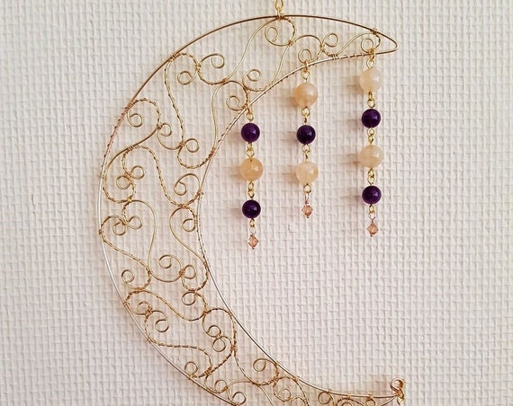 Brass Moon with Amethyst, Citrine and  Swarovski Drops,  Suncatcher