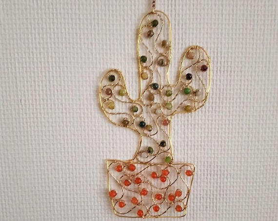 Cactus Suncatcher Featuring Brass Wire, Quartz and Agate