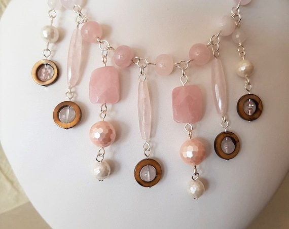 Rose Quartz, Shell and Silver Necklace, Wedding Jewellery, Holiday Jewellery, Gift for Her, Mothers Day Gift