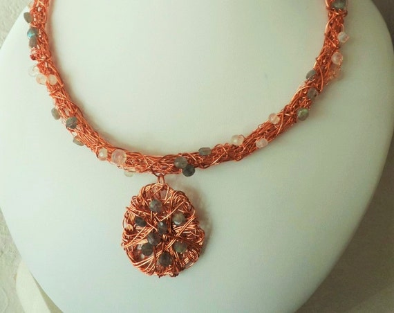 Copper Viking Knit Pendent Necklace with White Chalcedony and Labradorite,Gift for Her, Mothers Day,  Healing Crystal