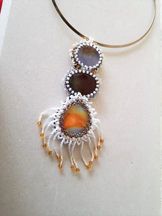 Triple Agate Cabochon Pendent Necklace with Shades of Orange/Brown/Cream Mothers Day Summer Jewellery