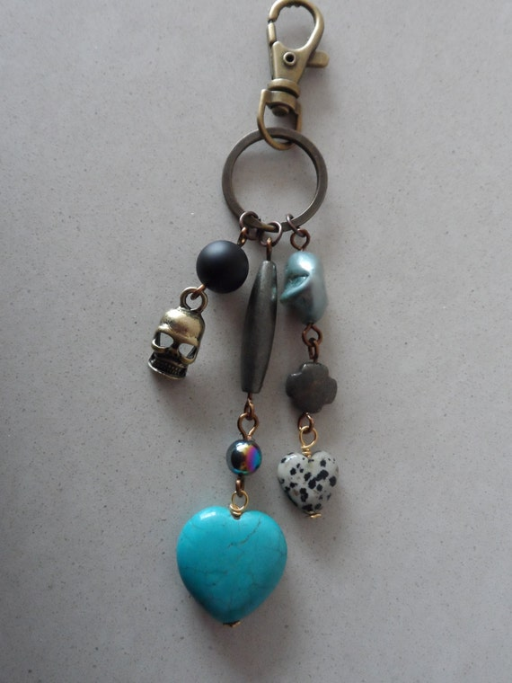 Custom Gemstone Key Chain Skull Detail, Dalmation Jasper, Quartz, Turquoise and Shell Pearl, Gift for Her, Mothers Day,  Healing Crystal