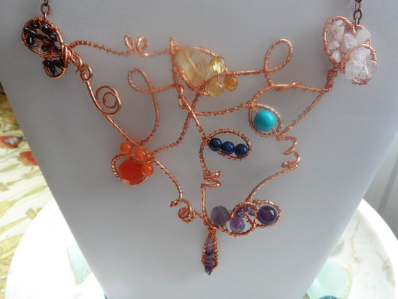 Organic Copper Gemstone Necklace with Chakra Stones, Wellbeing, Healing Crystals