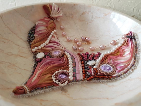 Silk Embroidered Bib Necklace Featuring Freshwater Pearls and Swarovski Crystals Wedding Prom Statement Necklace