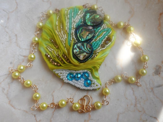 Shibori Silk Pendent with Pearls, Swarovski, Abalone Hearts and Seed Beads Wedding, Mothers Day, Gift For Her