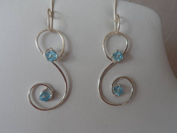 Handmade Silver Wire with Blue Swarovski Crystals