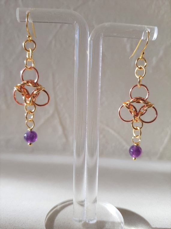 Gold and Copper Chain Maille Aura Design Earrings with Amethyst Drops
