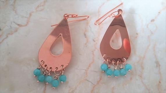 Copper Tear Drop Earrings with Blue Quartz