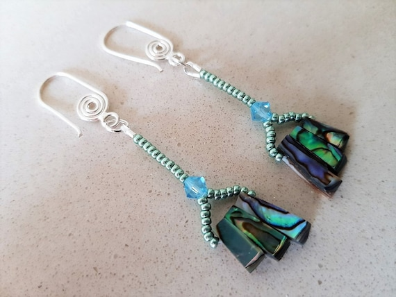 Abalone Shell Drop Earrings with Blue Swarovski Crystal and Seed Beads