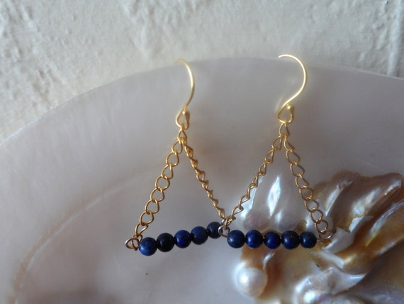Gold Plated 925 Silver Drop Earrings with Chain and Lapis Lazuli, Blue Earrings, Healing Crystal, Gift for Her, Mothers Day
