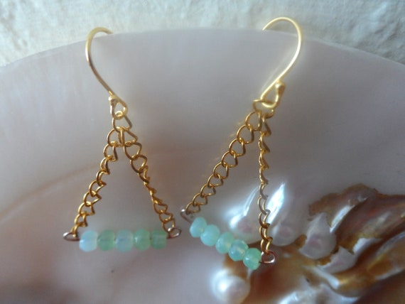Gold Plated 925 Silver Drop Earrings with Chain and Green Opals, October Birthstone, Healing Crystal, Gift For Her, Mothers Day
