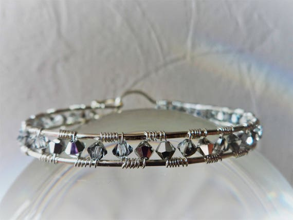 Dainty Silver Plated Wire Wrapped Bangle with Crystals