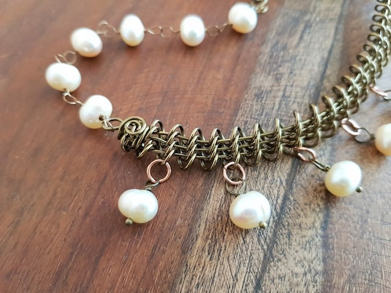 Fresh Water Pearl Rosary Linked Necklace with Bronze Wire Wrapped Detail